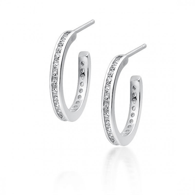 Silver earrings with zirconia, Open hoop