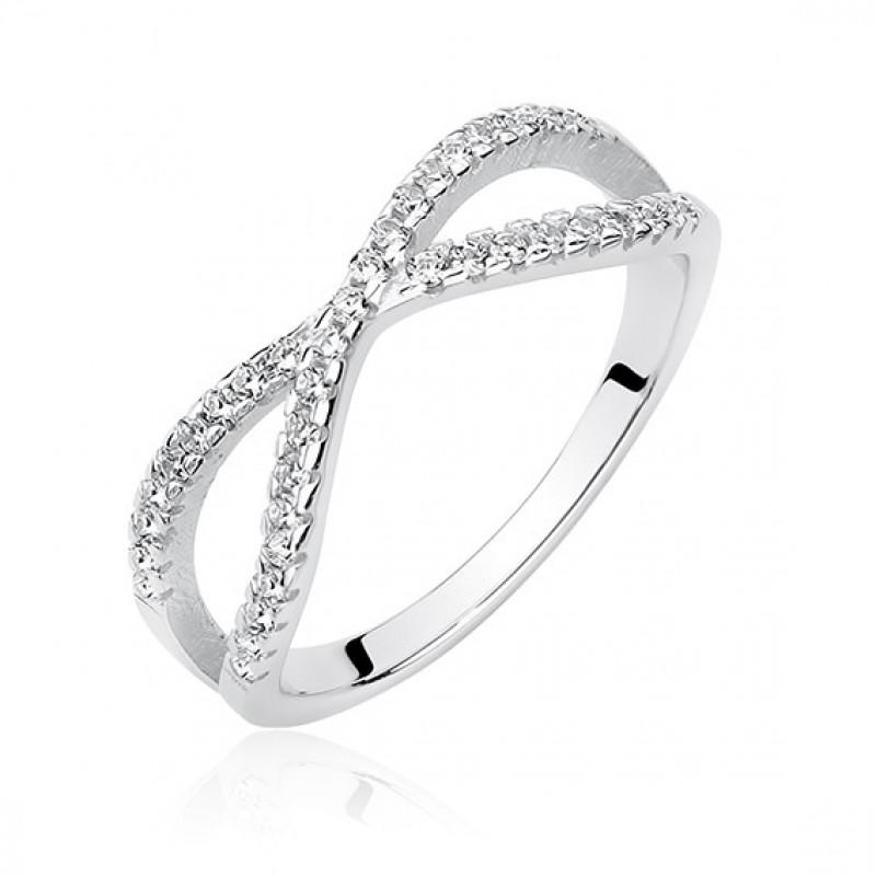 Серебряное кольцо с цирконом, EU-14