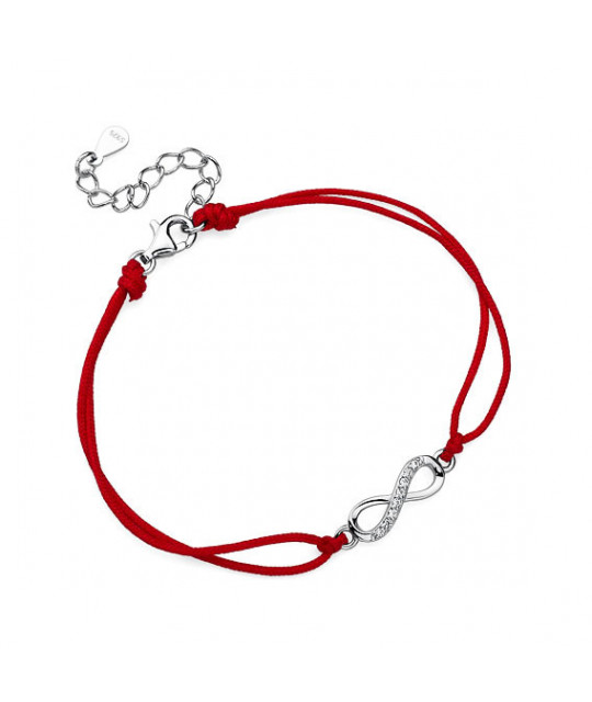 Red Kabbalah with silver charm, Infinity