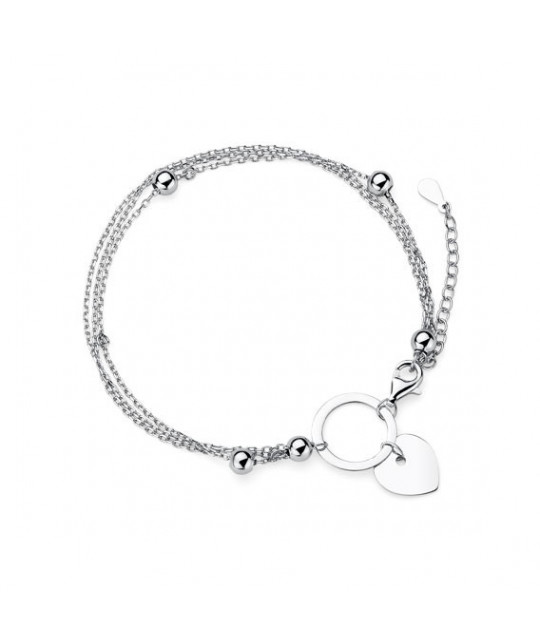 Silver bracelet, Heart and Circle
