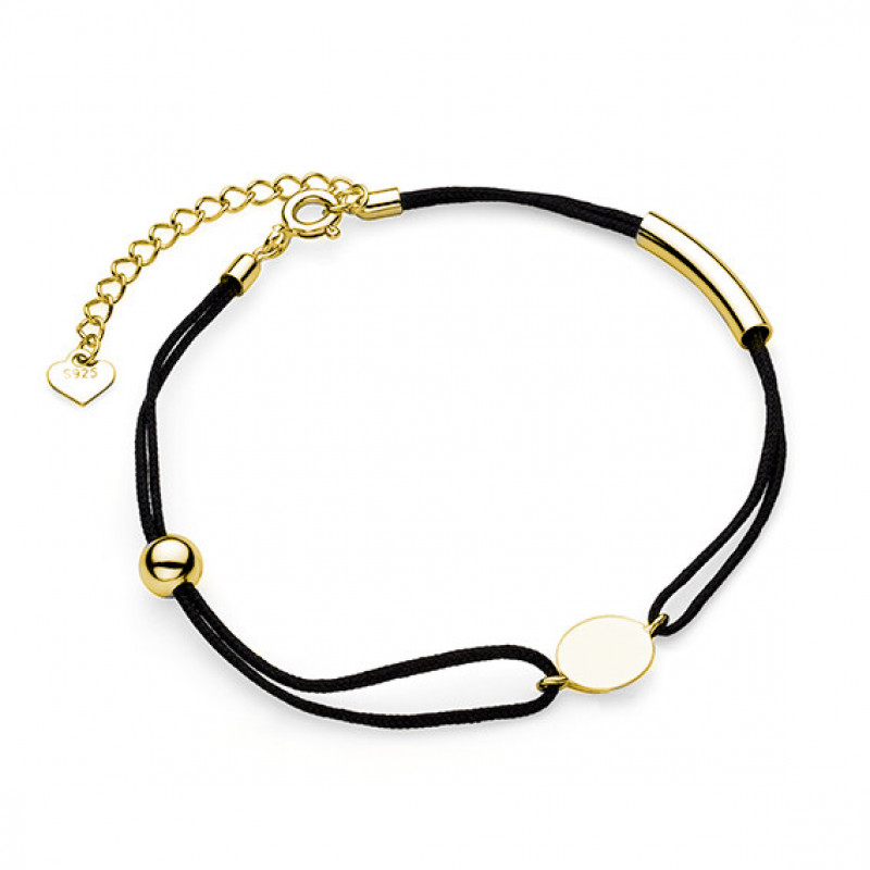 Gold-plated black bracelet, Circle