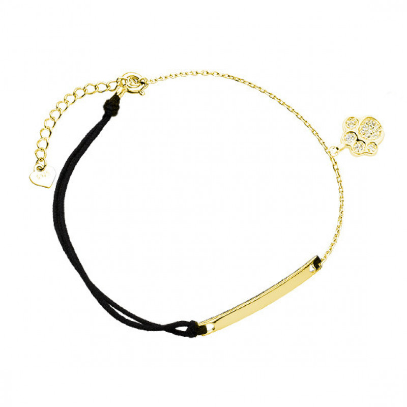 Gold plated black bracelet, Dog/Cat paw