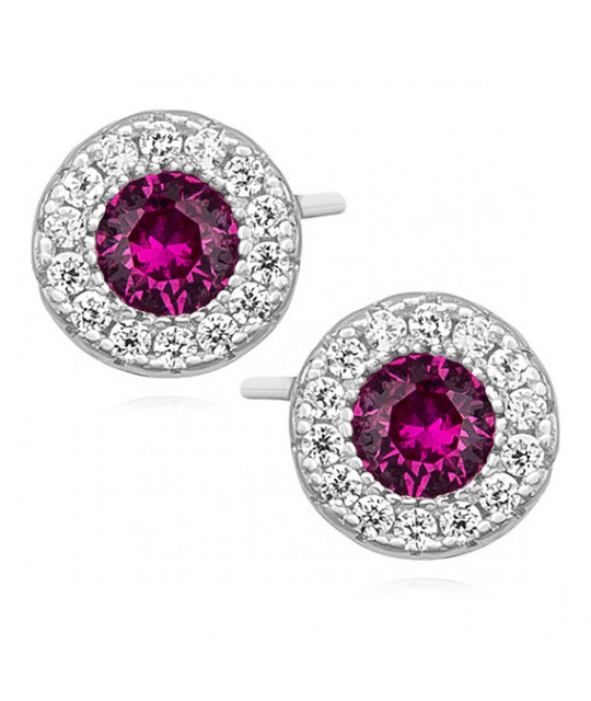 Silver elegant earrings with zirconia, round Ruby