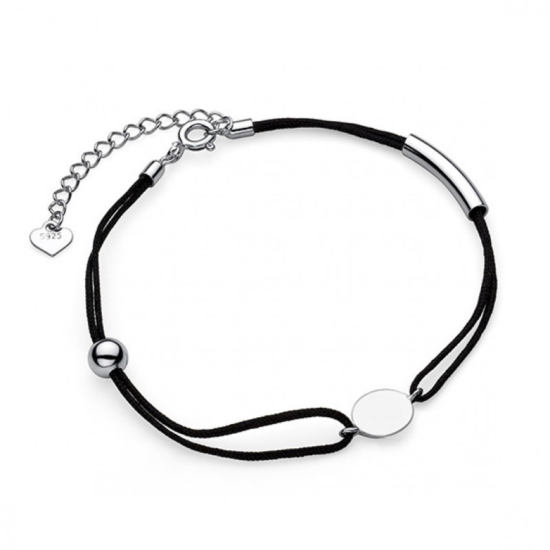 Silver bracelet with black thread, Circle