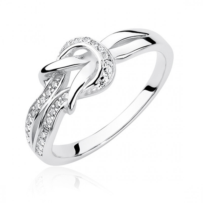 Silver ring with zirconia, Knot EU-13