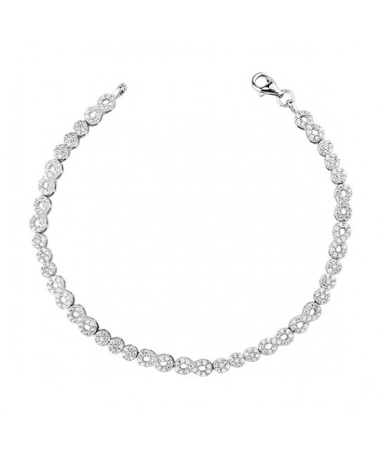 Silver bracelet with zirconium, Infinity