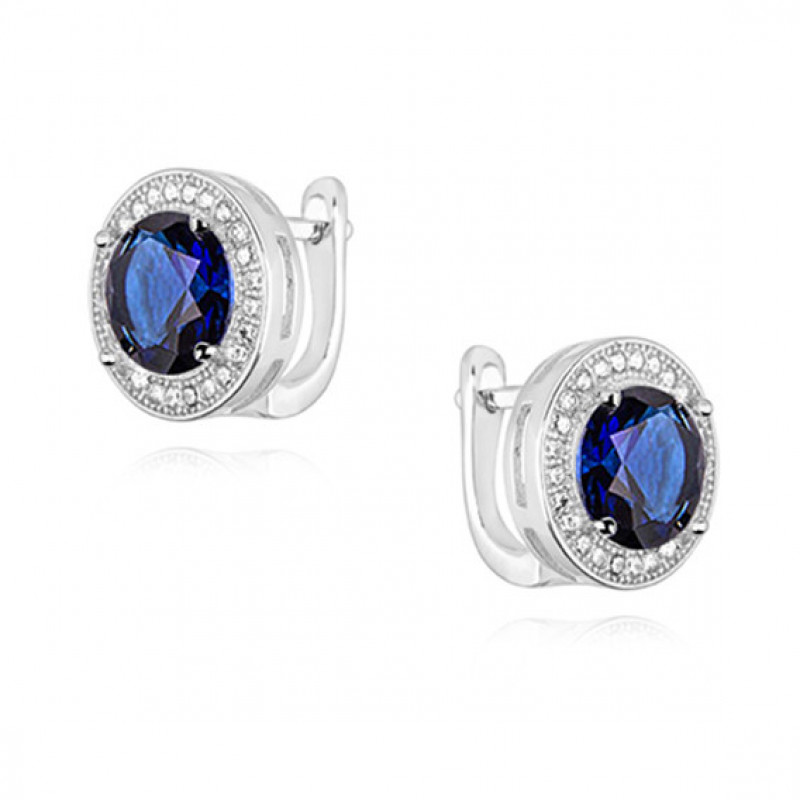 Silver earrings with round zirconia, Sapphire