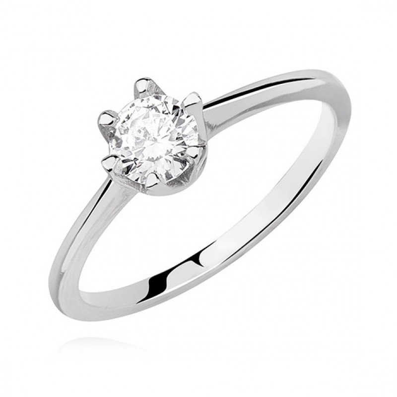 Silver ring with white zirconia, EU-14