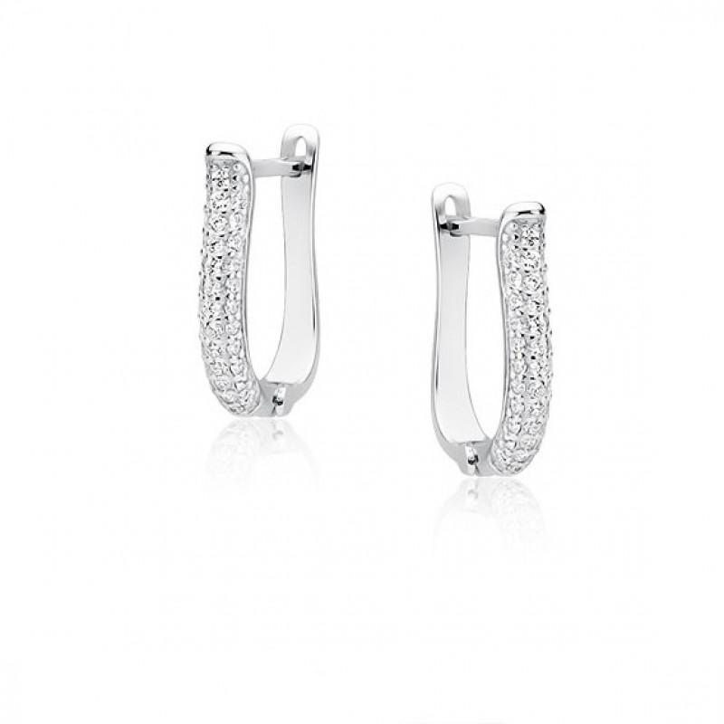 Элегантные серебряные серьги с цирконием
