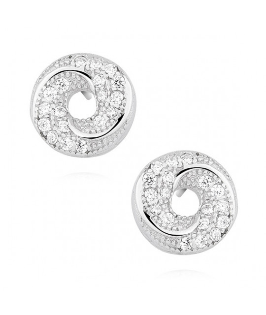 Silver elegant earrings with zirconia