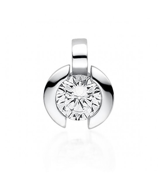 Silver pendant with white zirconia, 13x10 mm