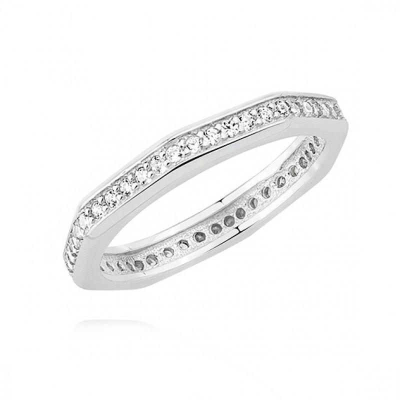 Silver ring Octagon with zirconia, EU-14