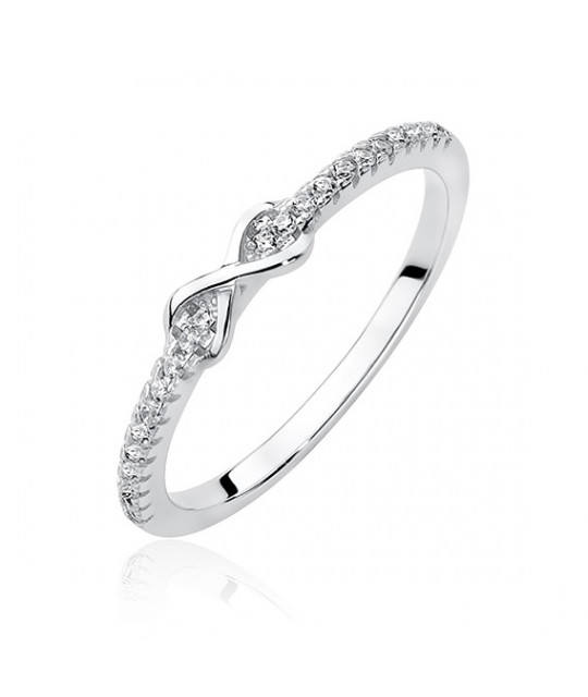 Silver ring with white zirconia, Infinity EU-12