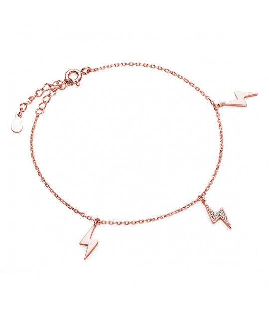 Silver rose gold-bracelet bracelet, Lightning with zirconia
