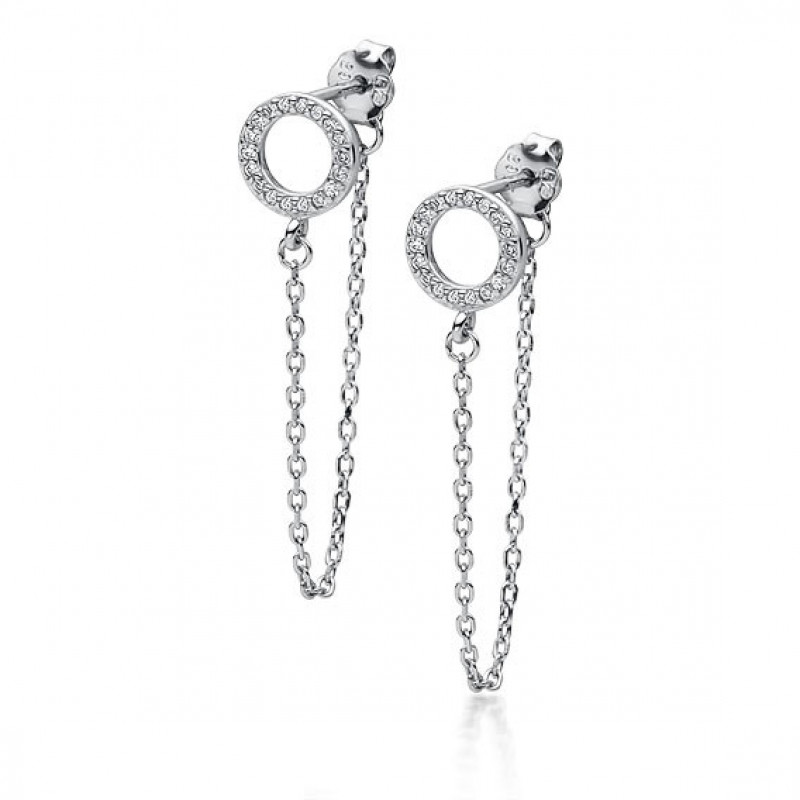 Silver earrings with zirconia, Circles and chain