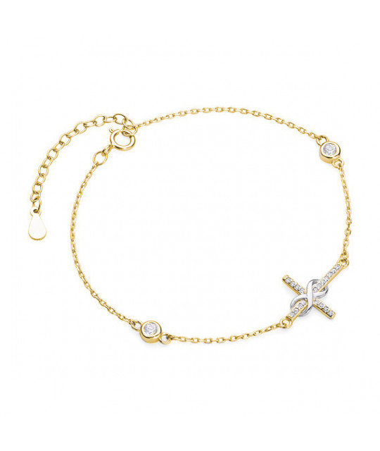 Gold-plated silver bracelet, Cross with zirconia and infinity
