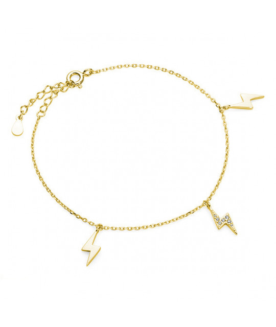 Gold plated silver bracelet, Lightning with zirconium