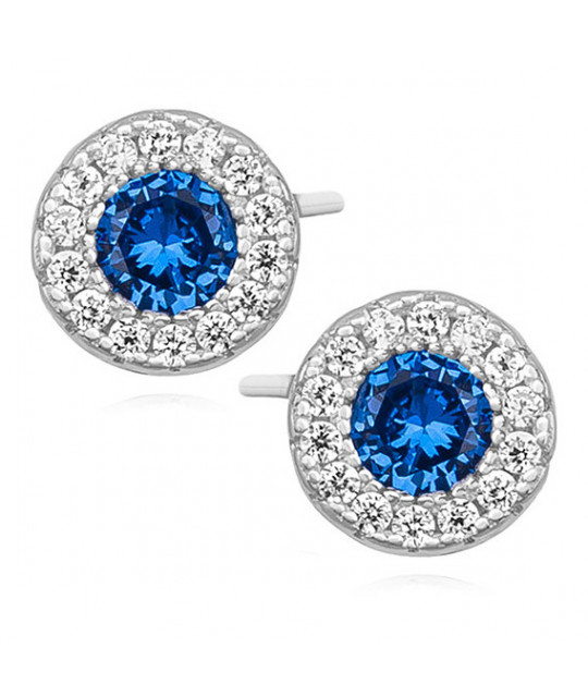 Silver elegant earrings with zirconia, round Sapphire