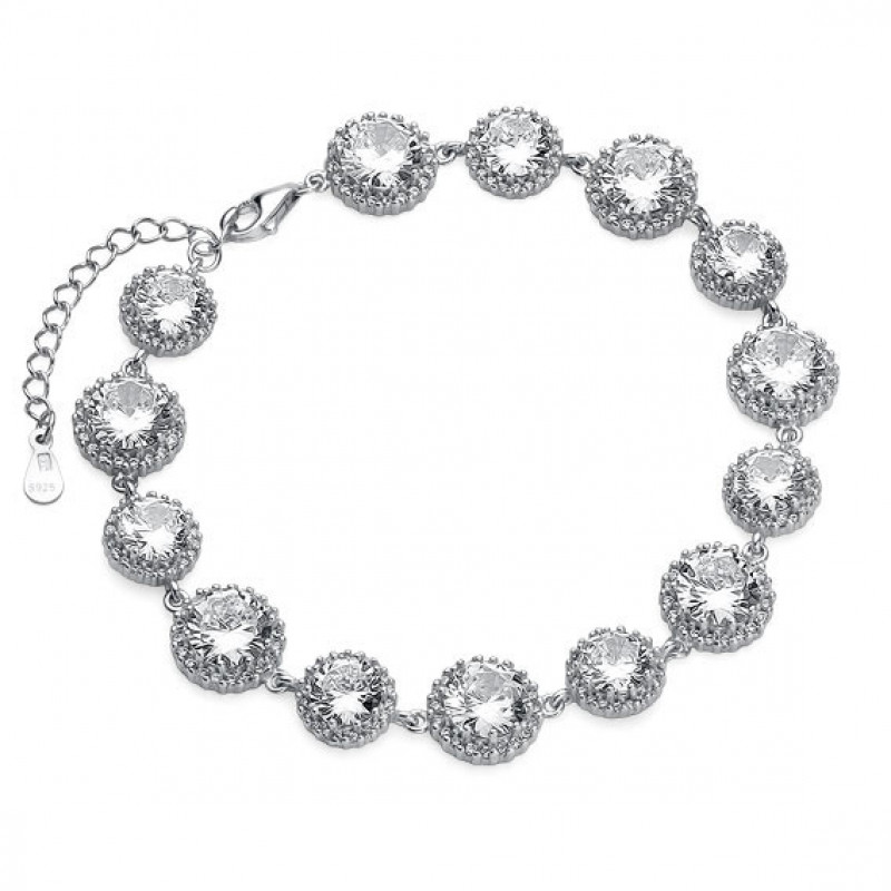 Silver fashionable bracelet, White zirconia