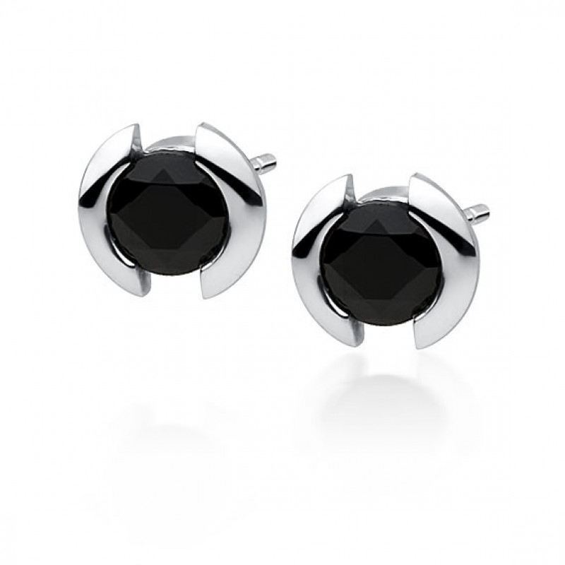Silver earrings with black zirconia