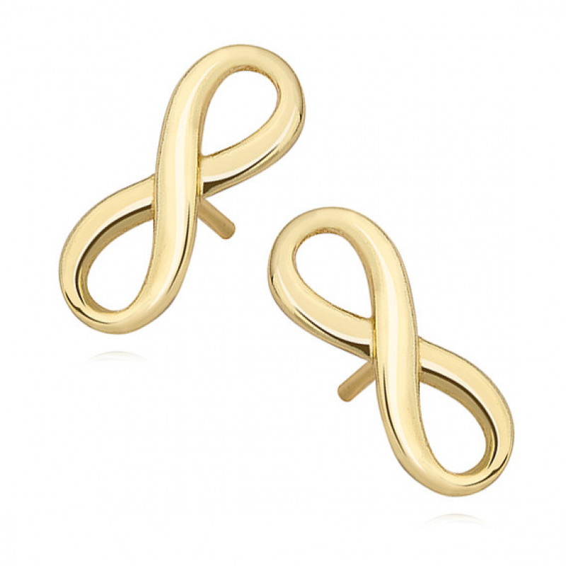 Silver earrings, gold-plated Infinity