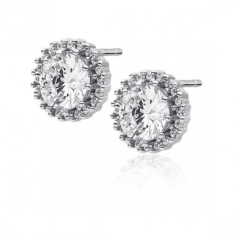 Silver earrings, White zirconia