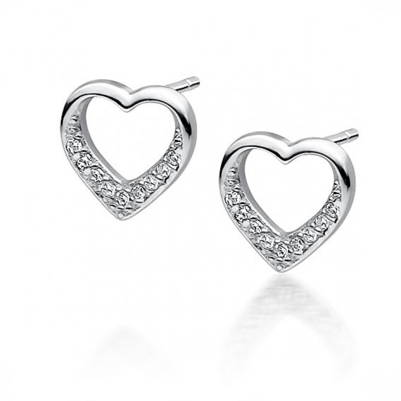 Silve earrings with zirconia, Heart