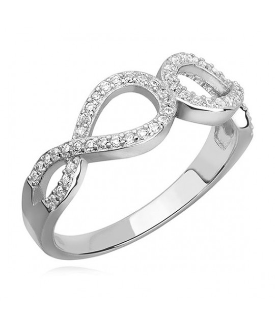 Silver ring with white zirconia Infinity, EU-12