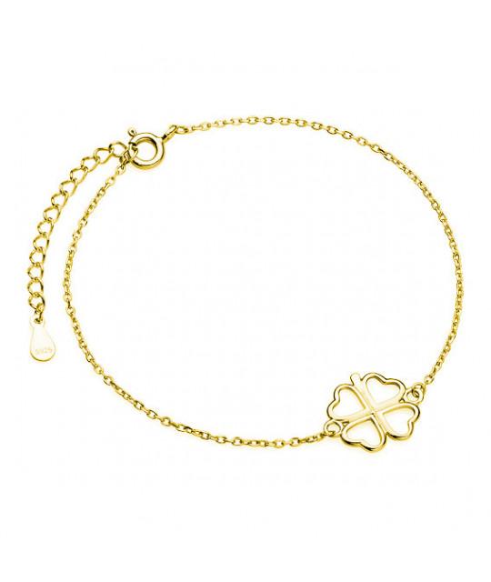 Позолоченный серебряный браслет, Клевер