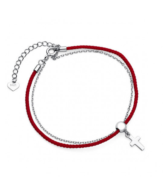 Silver bracelet with red cord, Сross