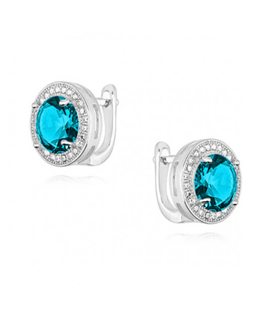 Silver earrings with round zirconia, Aquamarine