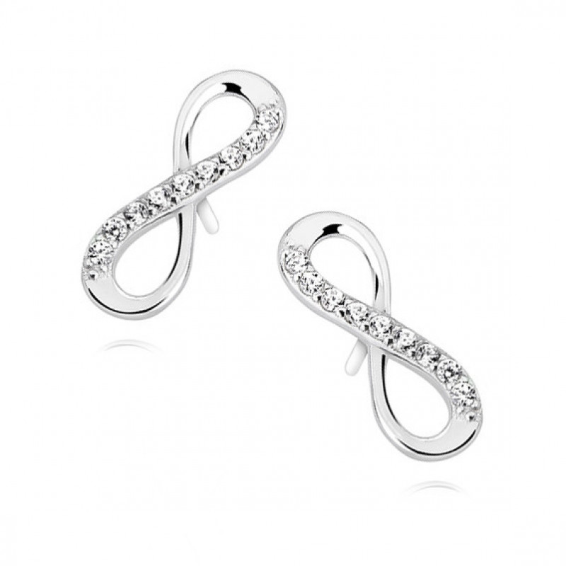 Silver earrings with white zirconia, Infinity