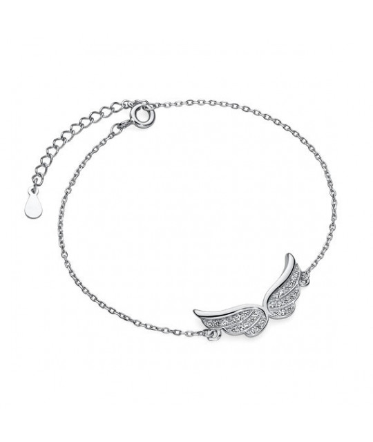 Silver bracelet, Wings with zirconia