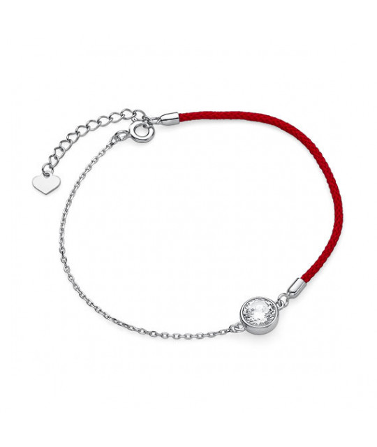 Silver and red cord bracelet, Zirconium