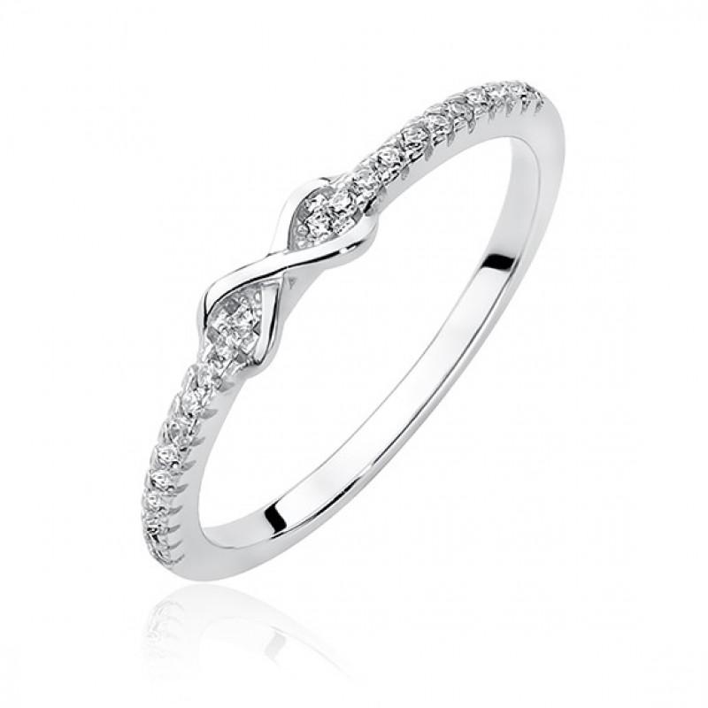 Sidabrinis žiedas su baltu cirkoniu, Infinity EU-12