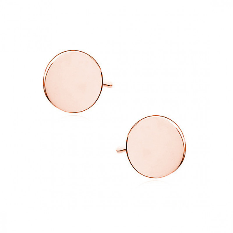 Silver earrings, rose gold-plated Circles