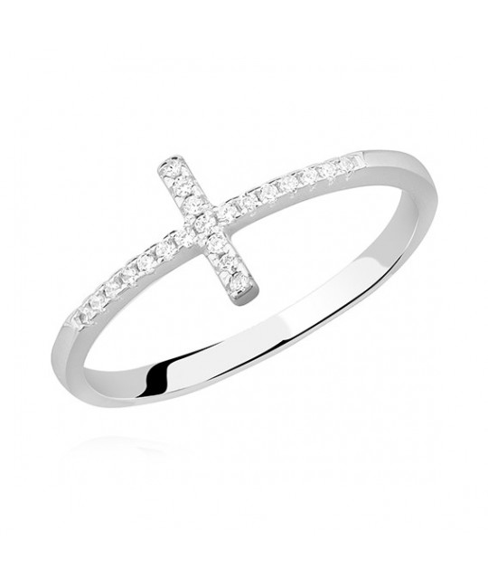 Silver ring, Cross with white zirconia, EU-14