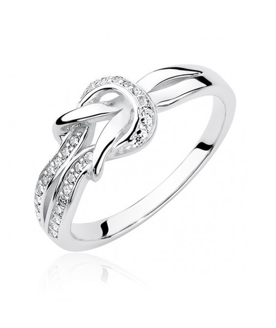 Silver ring with zirconia, Knot EU-14