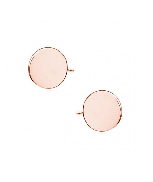 Sidabriniai auskarai, rožiniai pauksuoti Circles
