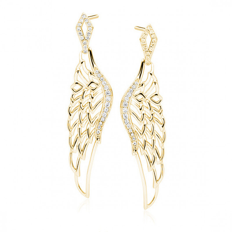Silver earrings, Beautiful gold-plated wings with zirconia