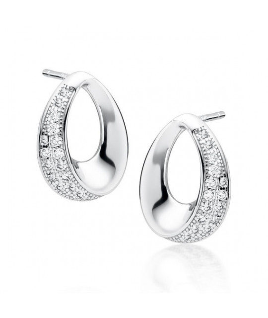 Silver earrings white zirconia, Round