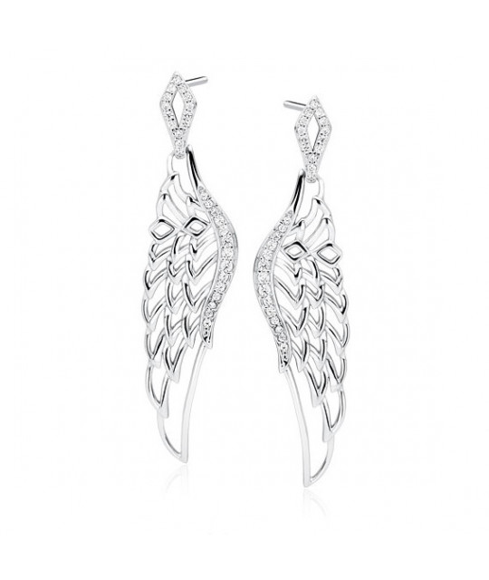 Silver earrings, Beautiful wings with zirconia