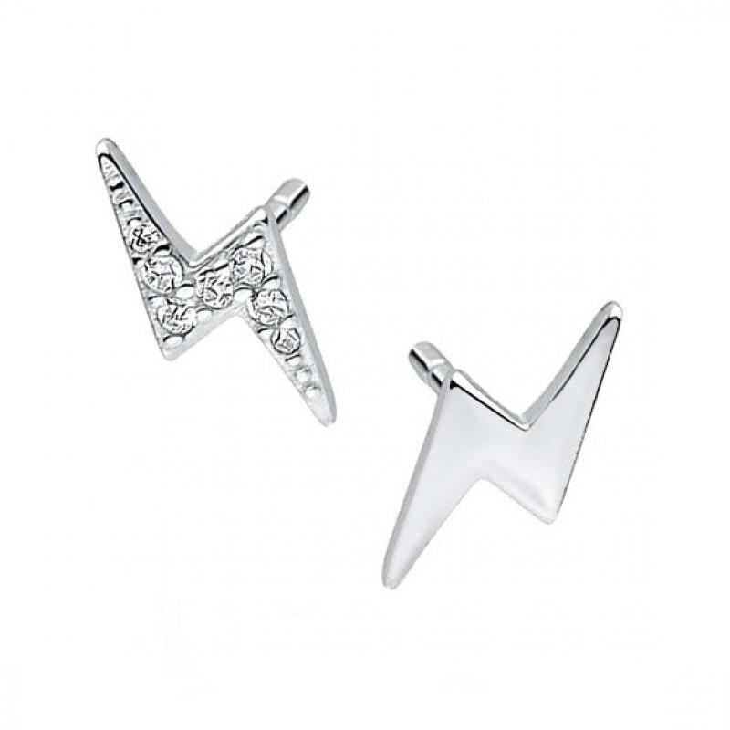 Silver earrings, Lightning