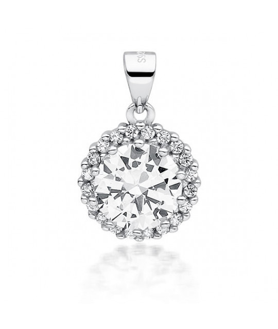 Silver pendant white zirconia, 19 mm