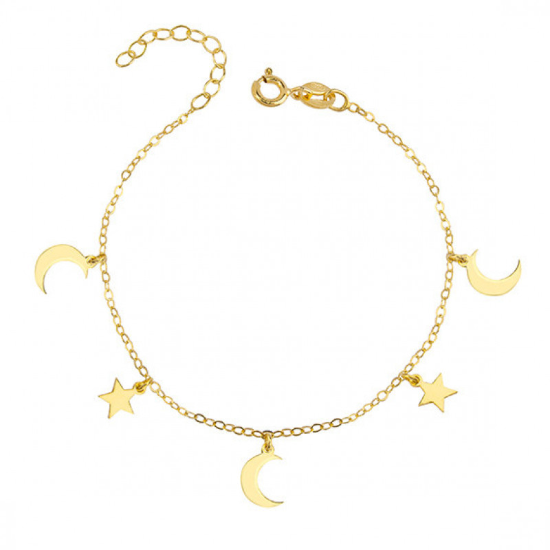 Silver bracelet with moon and star pendants, gold-plated