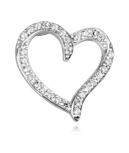 Silver pendant with white zirconia, Lovely hollow heart