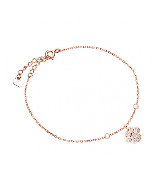Silver rose gold-plated bracelet, Dog/cat paw