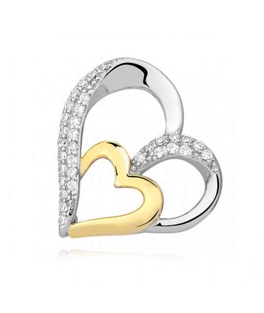 Silver pendant with zirconia, Gold-plated heart