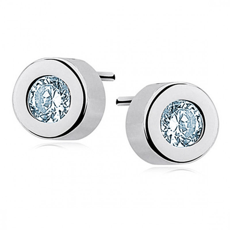 Silver round earrings, Aquamarine zirconia