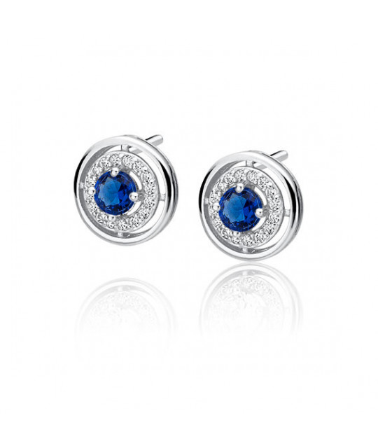 Silver elegant round earrings with sapphire zirconia